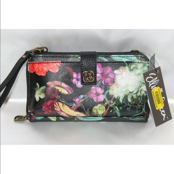 Elliott Lucca Handbags - New! Elliott Lucca black floral wristlet wallet